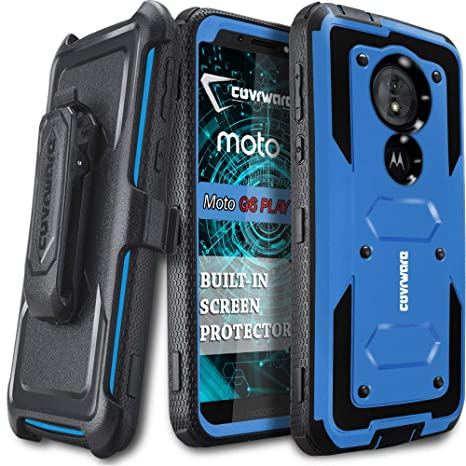 Moto G6 Play/Moto E5 (Xt1920 Dl) Case (Not Fit Moto G6), Covrware [ Aegis Series ] Case Built In [Screen Protector] Heavy Duty Full Body Rugged Holster Armor Case [Belt Swivel Clip][Kickstand], Blue by Covrware
