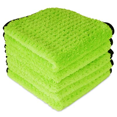 "Liquid X Plush Waffle Weave Green Xtreme Microfiber Detailing Towel 16"" x 16"" Guaranteed Satisfaction (5 Pack): Automotive"
