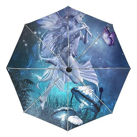 dfb3a5797fc6 BAIHUISHOP Fairy Magic Butterfly Mushrooms Windproof Rain Umbrellas Auto  Open Close 3 Folding Strong Durable Compact Travel Umbrella Uv Protection  ...