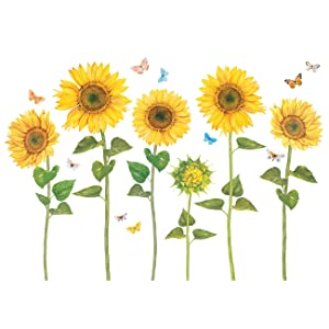 DECOWALL DAT-1905 Watercolour Sunflower Kids Wall Stickers Wall Decals Peel and Stick Removable Wall Stickers for Kids Nursery Bedroom Living Room