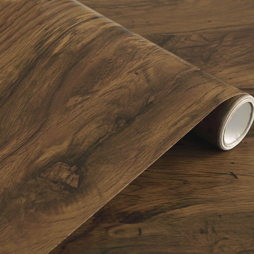 Rustic Dark Wood Grain Contact Paper Self Adhesive Shelf Liner for Kitchen Cabinets Countertop Drawer Arts and Crafts 24 x 196 Inches