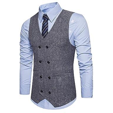 YCUEUST Elegante Chaleco Hombre Vestir Traje Blazers Sin ...