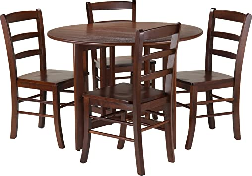 Silver Dining Table And Chairs, Amazon Com Winsome 5 Piece Alamo Round Drop Leaf Table With 4 Ladder Back Brown Table Chair Sets