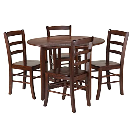 86829795823c Image Unavailable. Image not available for. Color  Winsome 5-Piece Alamo  Round Drop Leaf Table with 4 Ladder Back ...