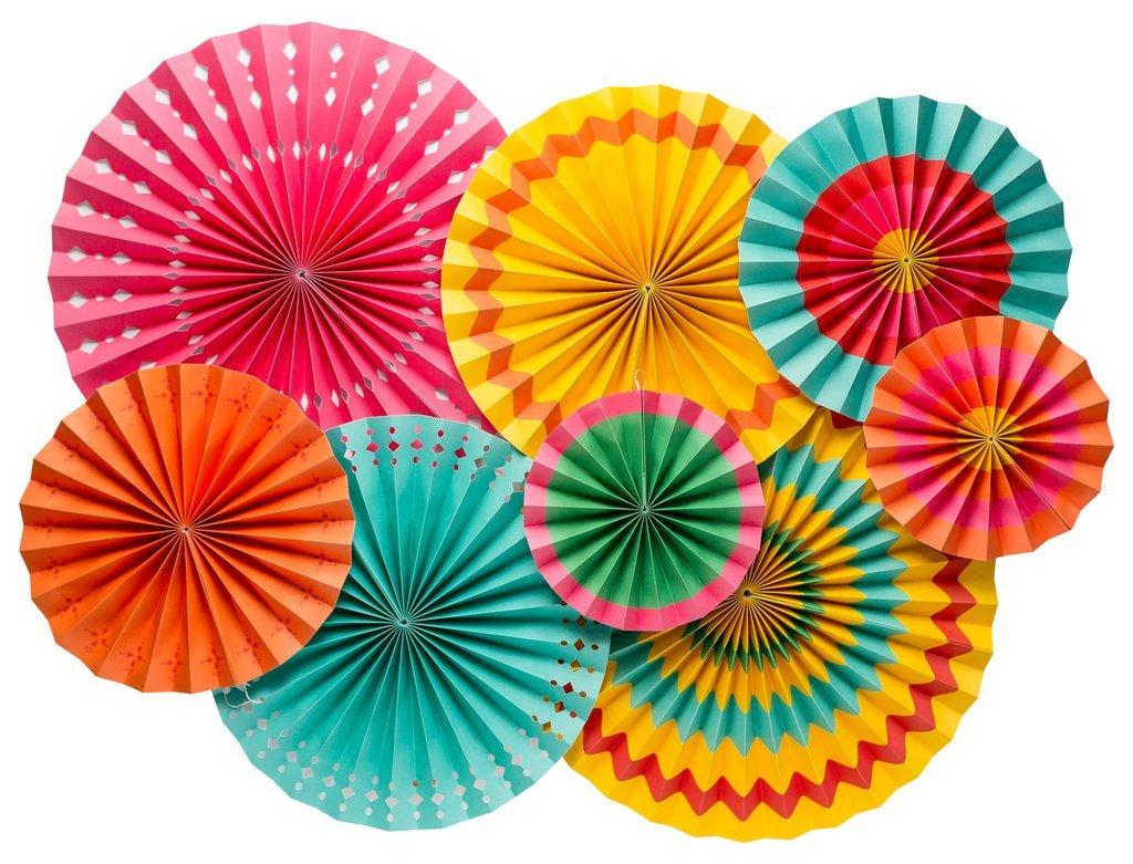 My Mind's Eye Paperlove Single-Sided Fiesta Party Fans PLFE02, Set of 8