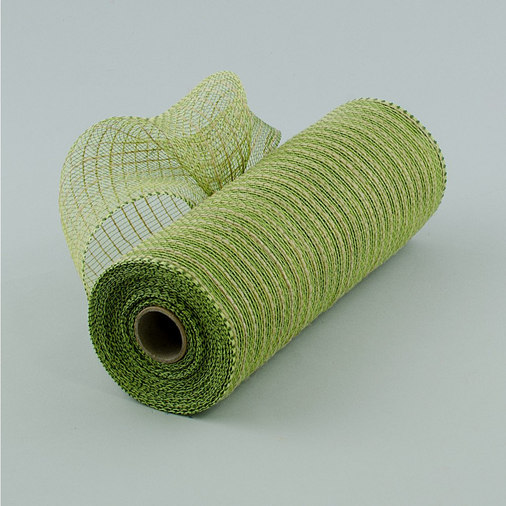 10'' Wide Poly Jute Deco Mesh Natural & Moss Green Thin Stripe 10.5'' Wide By 10 Yards / 30 Feet Long