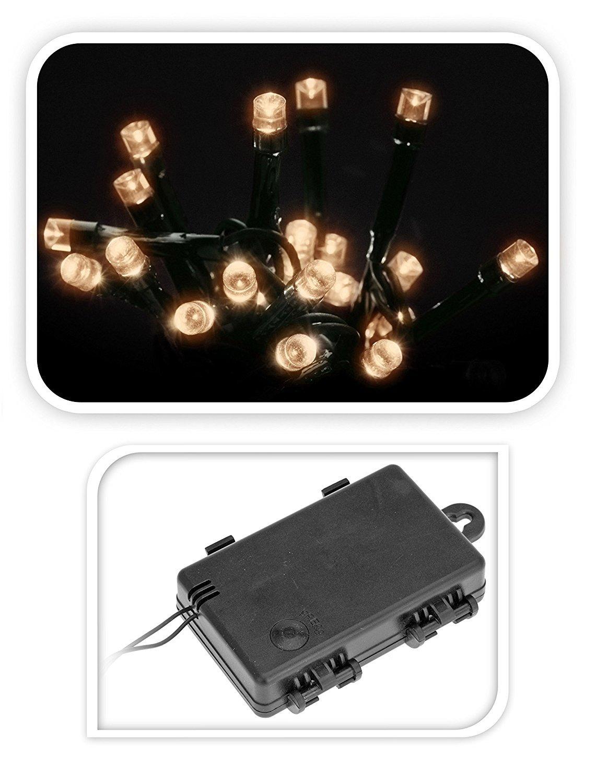 Led Lichterketten 48 Lämpchen (aussen + innen) warmweiß + Timer ...