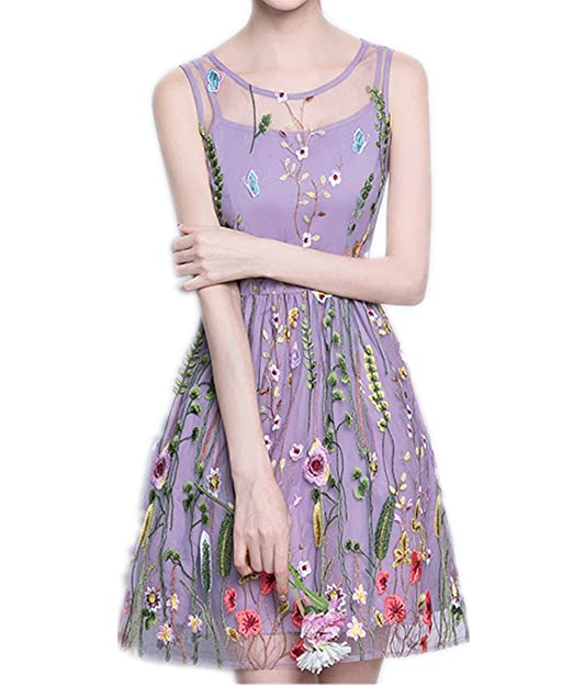 kxry Women s Light Purple Short Party Dresses Floral Embroidery Prom Gowns  ... edb7f9ce4f