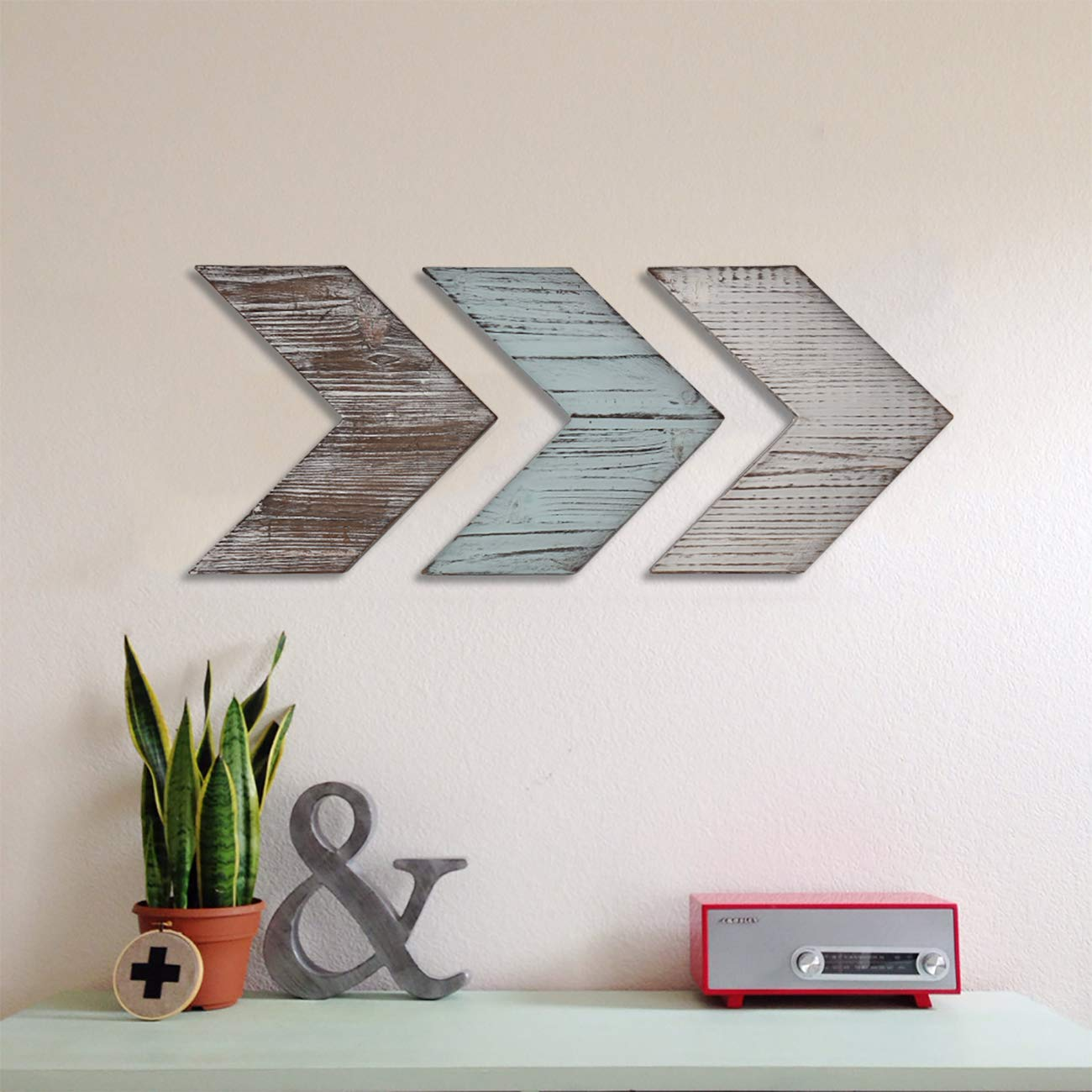 Wooden Chevron Arrow Sign , Set of #3 Arrows