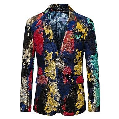 Veste de Costume Homme coloré Mince Mariage Moderne Causal Blazer Un Bouton  Chic Imprimé Floral Mode  Amazon.fr  Vêtements et accessoires 3bcbd082200