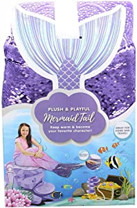 Jay Franco & Sons Plush & Playful 55-Inch Mermaid Tail Blanket - Purple and Pink