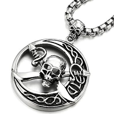 COOLSTEELANDBEYOND Grande Cercle Pirate Crâne Pendentif - Acier Inoxydable  Collier Homme - avec 75CM Chaîne de d70caab40474