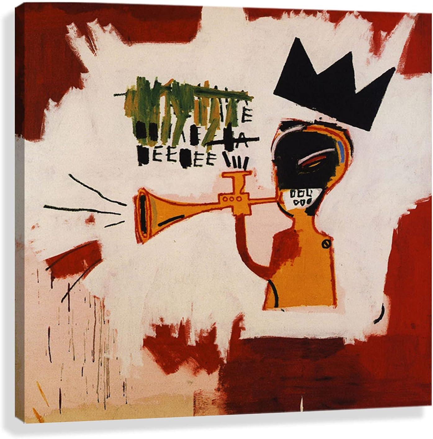 Trompeta Jean Michel Basquiat pintada cuadros para dormitorios modernos lienzos decorativos cuadros decorativos hogar decoracion salon Listo para colgar (75x75cm29x29in, enmarcada)