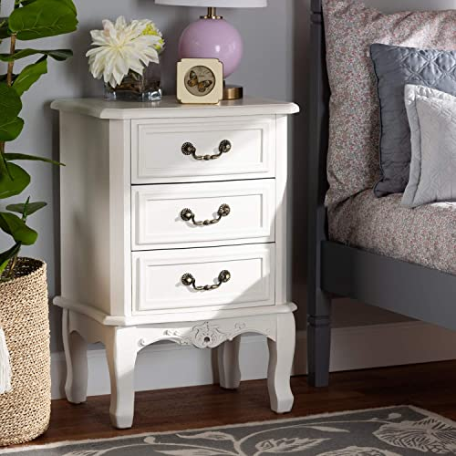 Baxton Studio Gabrielle Traditional French Country Provincial White-Finished 3-Drawer Wood Nightstand