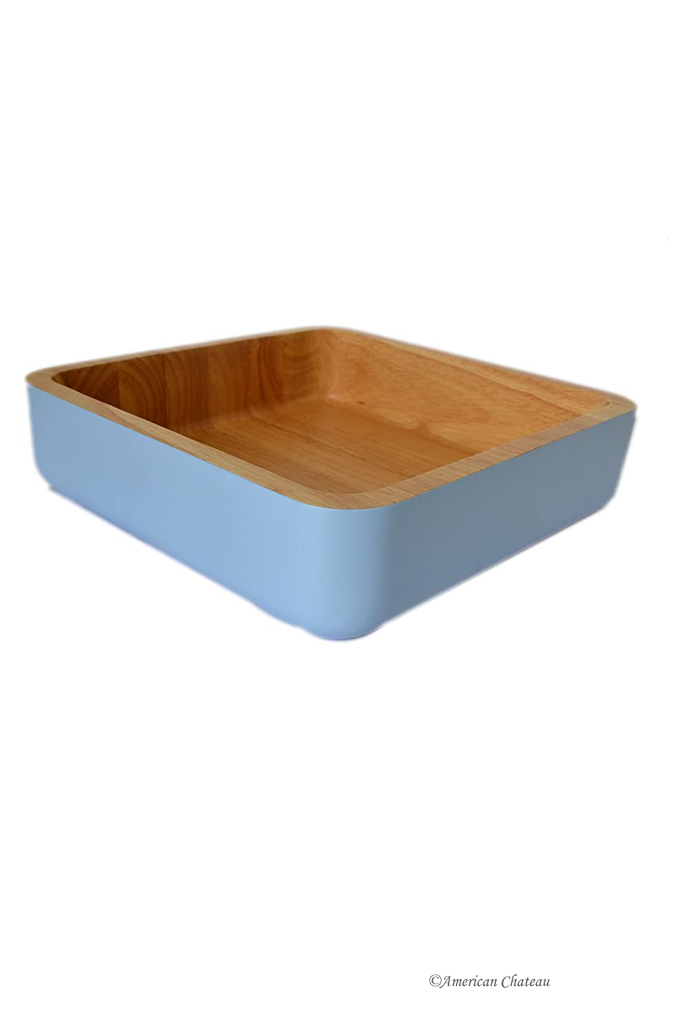 Hand Made Baby-Blue Square Large Wood Salad Serving Food Fruit Bowl Dish American Chateau