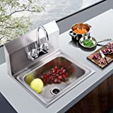 """Sandinrayli Commercial Stainless Steel Wall Mounted NSF Hand Sink w/Faucet 17"""" x 15"""" Silver"""