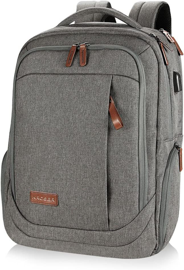 KROSER Laptop Backpack Large Computer Backpack Fits up to 17.3 Inch Laptop with USB Charging Port Water-Repellent School Travel Backpack Casual Daypack for Business/College/Women/Men-Grey