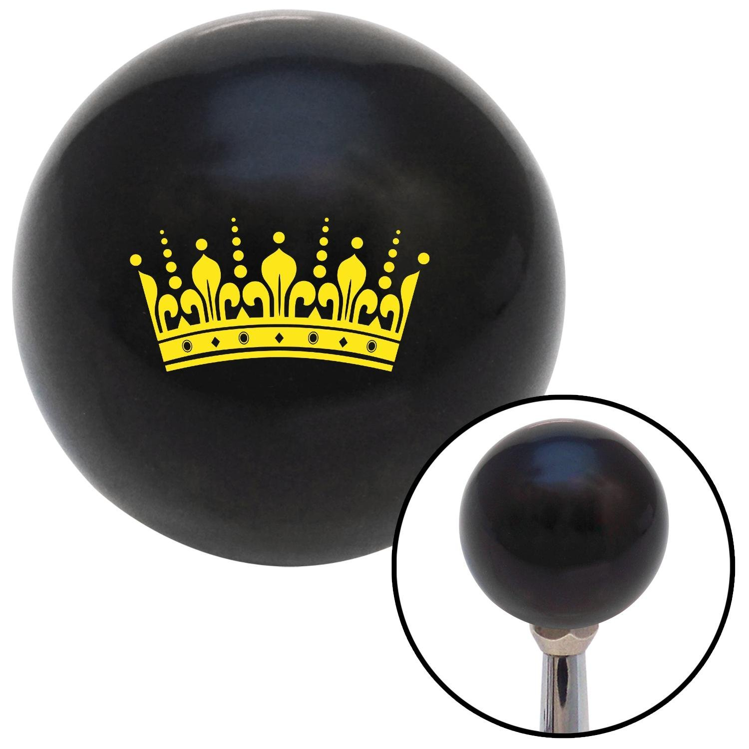 American Shifter 104631 Black Shift Knob with M16 x 1.5 Insert Yellow Kings Crown
