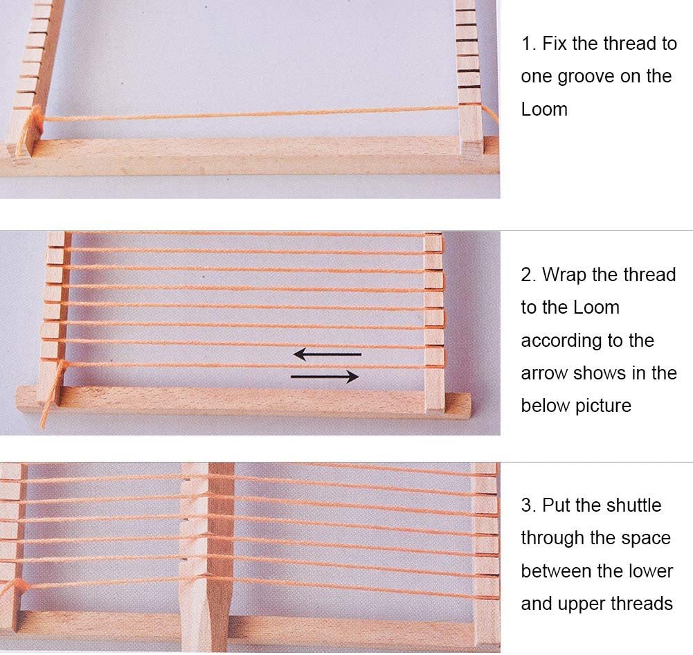 PandaHall Elite 1 Set Wood Knitting Weaving Looms with Yarns Warp Adjusting Rods Combs and Shuttles