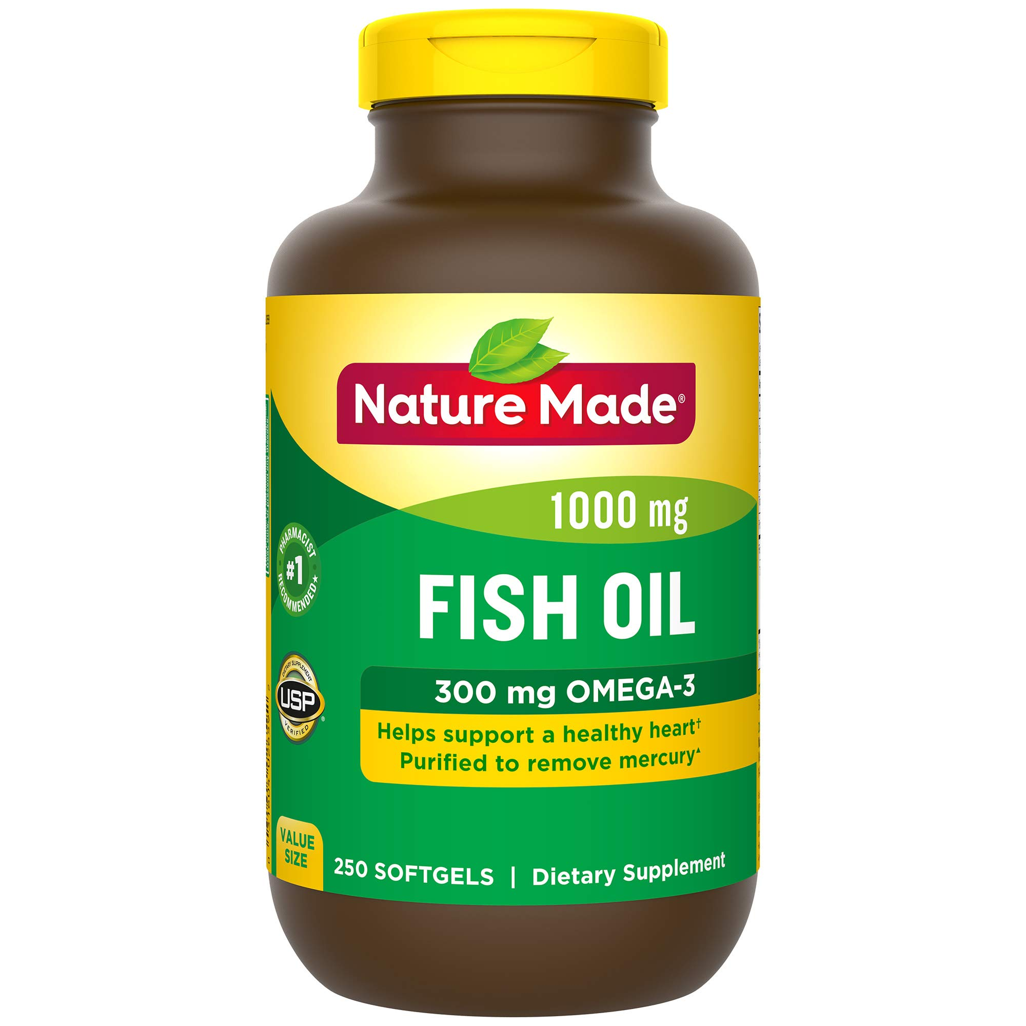 Nature Made Fish Oil 1000 mg Softgels, 250 Count Value Size for Heart Health† (Packaging May Vary) by Nature Made