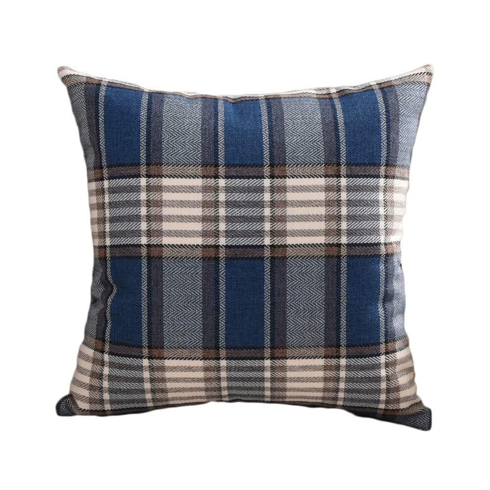 GJFeng Lino Plaid Sofa Pillow Case Nap Cuscino Cuscino Cuscino per Letto Large Queen Cuscino Core Lavabile (colore   A, Dimensioni   S.)