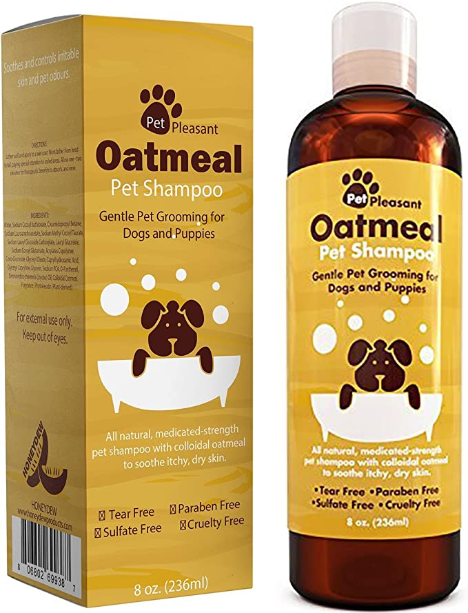 Pet Pleasant Natural Oatmeal Pet Shampoo - Best Shih Tzu Shampoo for Sensitive Skin