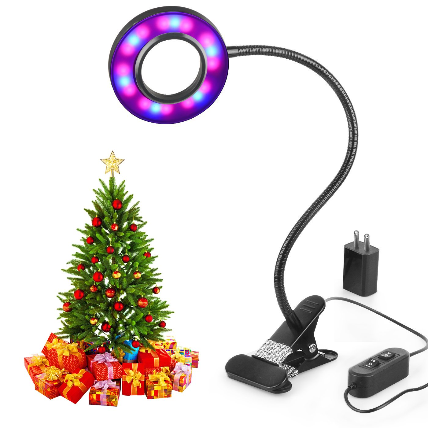 LED Grow Light,Aokey Led Plant Light 10w Grow Lamp Adjustable 3 Modes&2-Level Dimmable Clip Desk Lamp with 360 ° Flexible Gooseneck for Office, Home, Indoor Garden Greenhouse Hydroponic Indoor Plants Veg and Flower