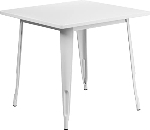 Flash Furniture Commercial Grade 31.5″ Square White Metal Indoor-Outdoor Table