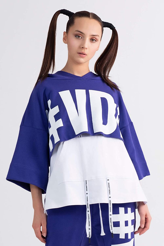 #VDR VIADELLEROSE Damen Crop Sweathirt VS20-4260 Crop Pullover Orange