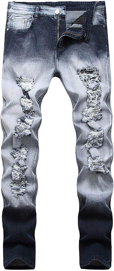 Side Stripe Biker Jeans for Men, Teen Boy Washed Distressed Destroyed Skinny Jeans Stretchy Holes Ripped Denim Pants