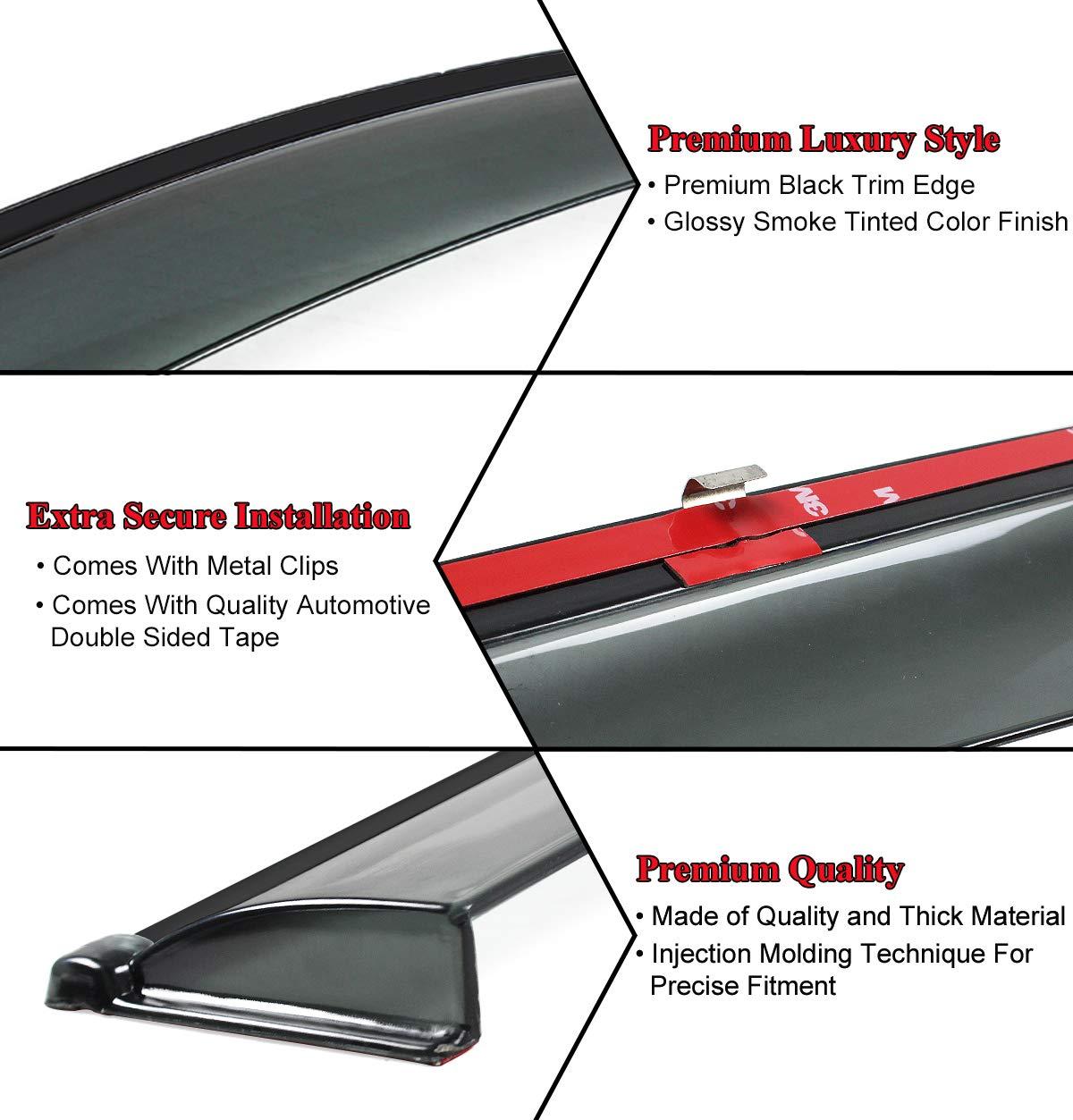 Cuztom Tuning Black Trim Clip on Smoke Tinted Window Visor Rain Guard Deflector Fits for 2016-2019 Honda Civic 4 Door Sedan