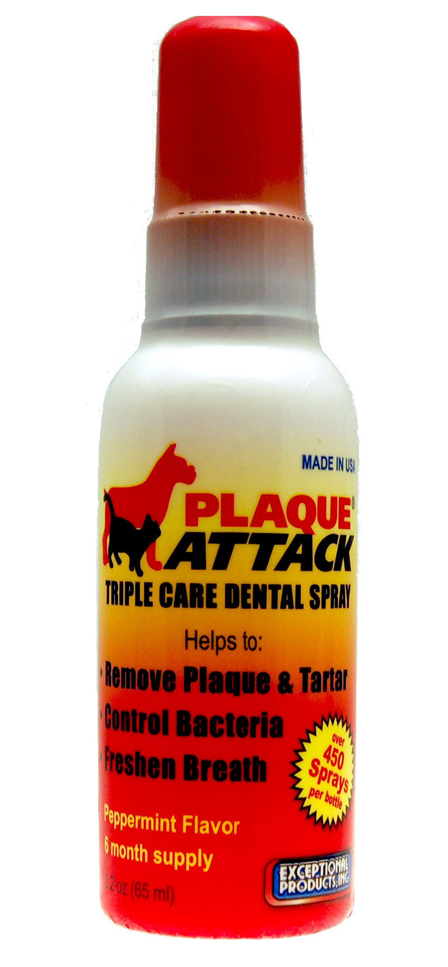 Plaque Attack Pet Dental Spray Peppermint Flavor 2.2 fl oz - 6 Month Supply