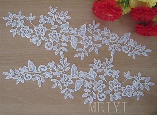 1 Pair Applique Lace Trim Embroidery Sewing Motif  DIY Wedding Bridal Crafts UK