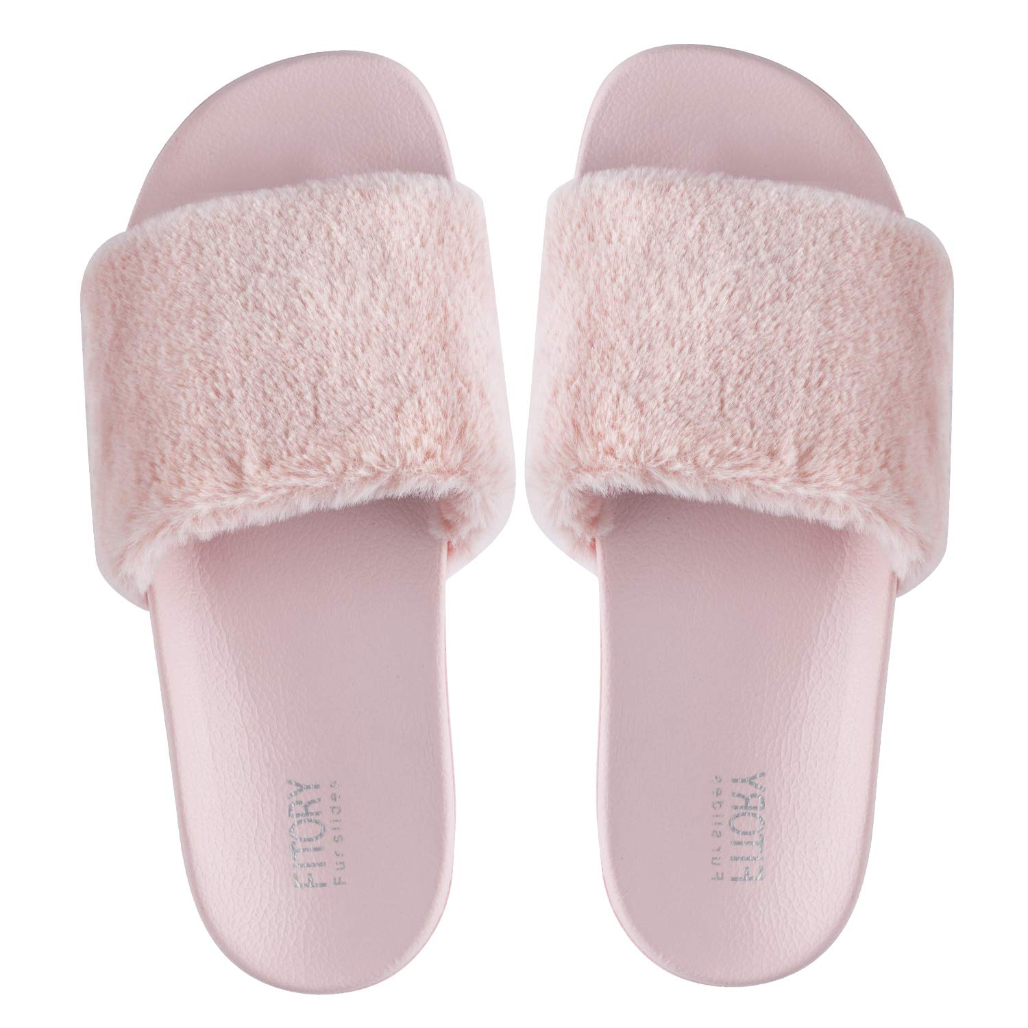 7fc58b8cb FITORY Women Slides Slippers, Faux Fur Slide Slip On Flats Sandals with  Arch Support Open ...