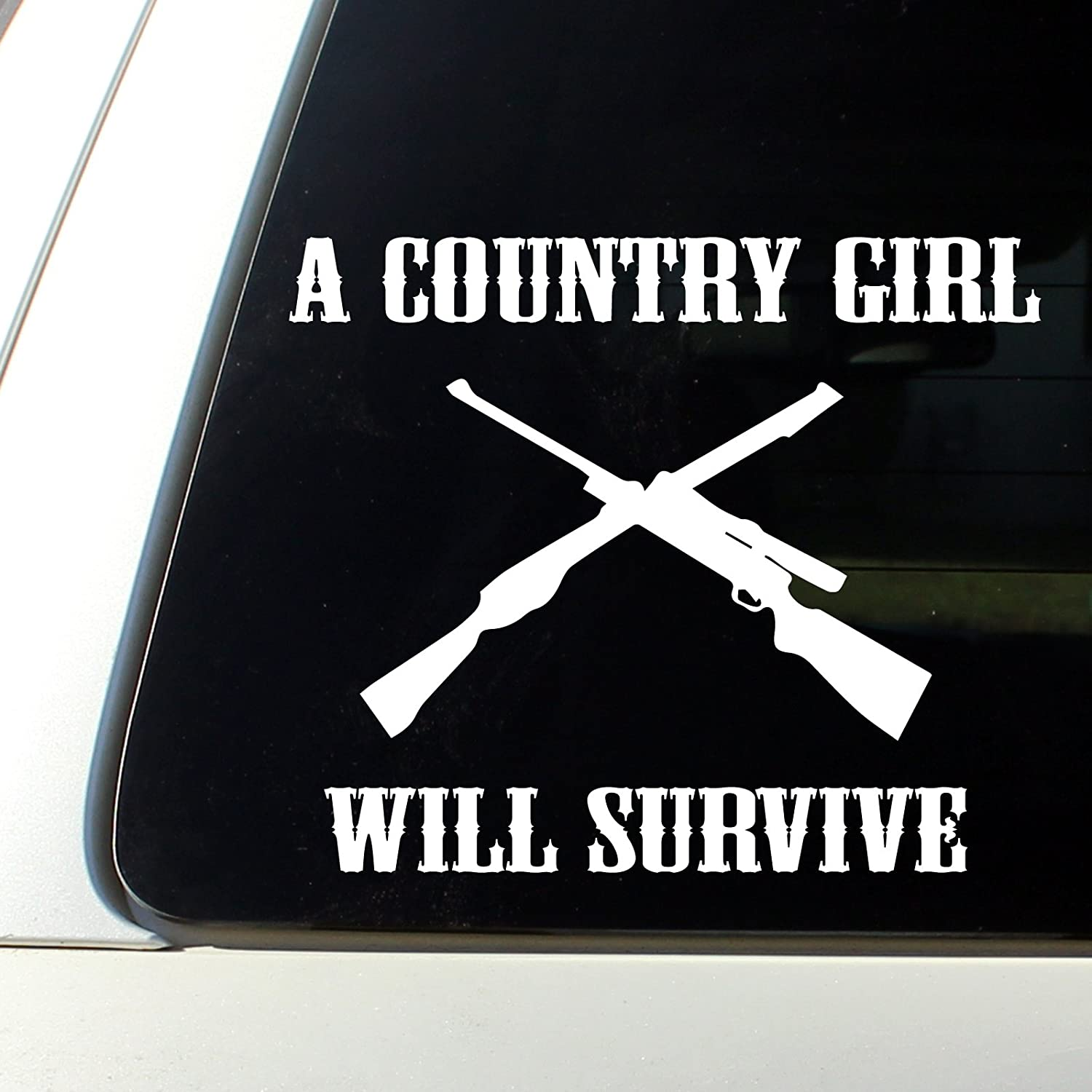 Amazoncom A Country Girl Will Surive Cowgirl Car Decal Bumper - Country girl custom vinyl decals for trucks