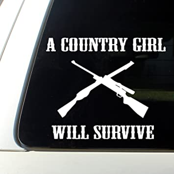A Country Girl Will Surive Cowgirl Car Decal Bumper