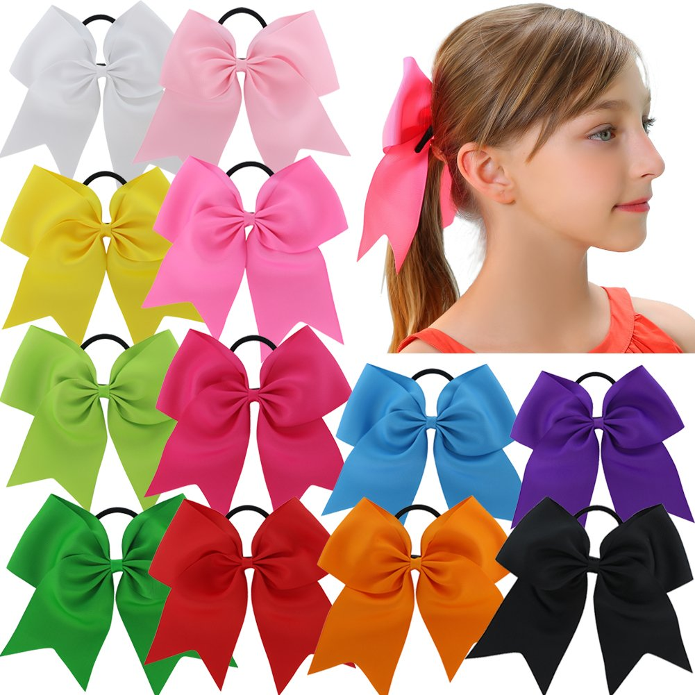 QingHan 12Pcs 7.5 Baby Girl Ponytail Holder Large Cheer Boutique Hair Bows Elastic Tie HJ071