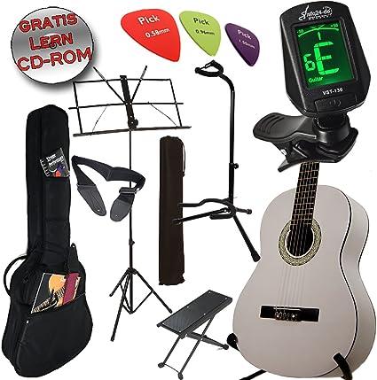 Original Ashley Set guitarra clásica color: Classic White +, funda ...