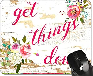 Inspirational Quote Mouse Pad Get Things Done Pink Floral Mousepad Desk Accessories for Women Office Gifts,24x20x0.3CM