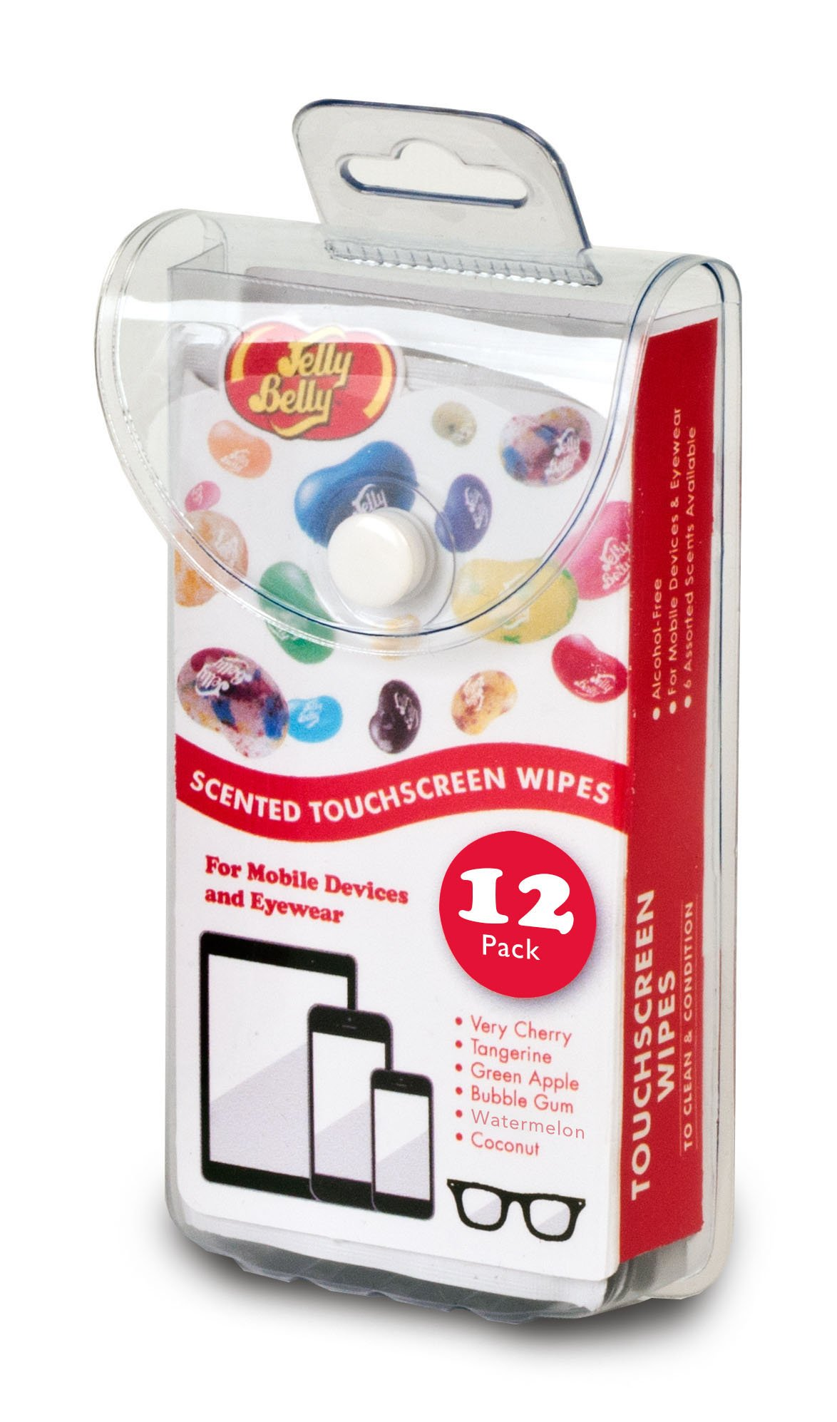 Jelly Belly Scented Alcohol Free Touchscreen Wipes for Mobile Devices and Eyewear (12 Wipes in Assorted Scents)