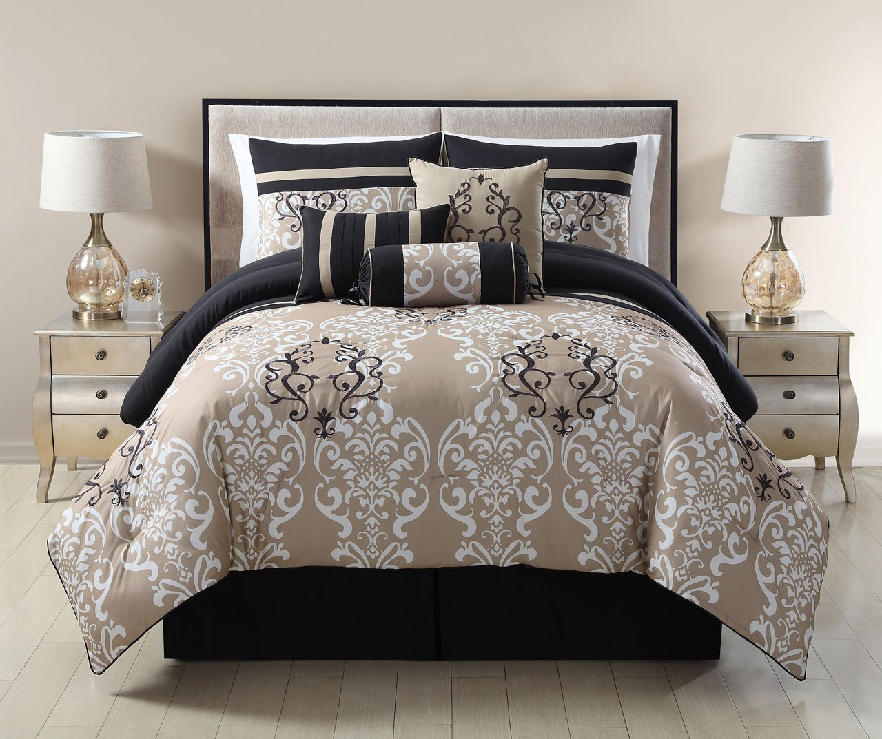 7 Piece Queen Carlisle Black/Taupe Comforter Set