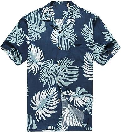 Hawaii Hangover Camisa Hawaiana de los Hombres Camisa Hawaiana Hojas de Palma en Azul Marino: Amazon.es: Ropa y accesorios