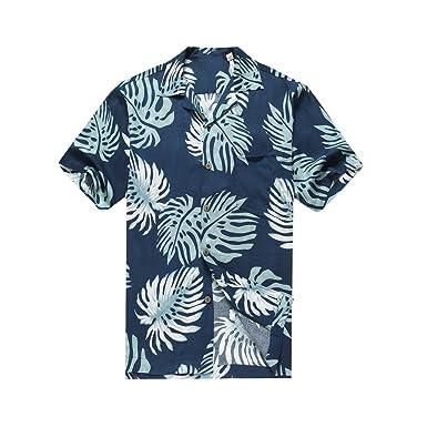 7ba7c44d Hawaii Hangover Men's Hawaiian Shirt Aloha Shirt Palm Leaves in Navy Blue  at Amazon Men's Clothing store: