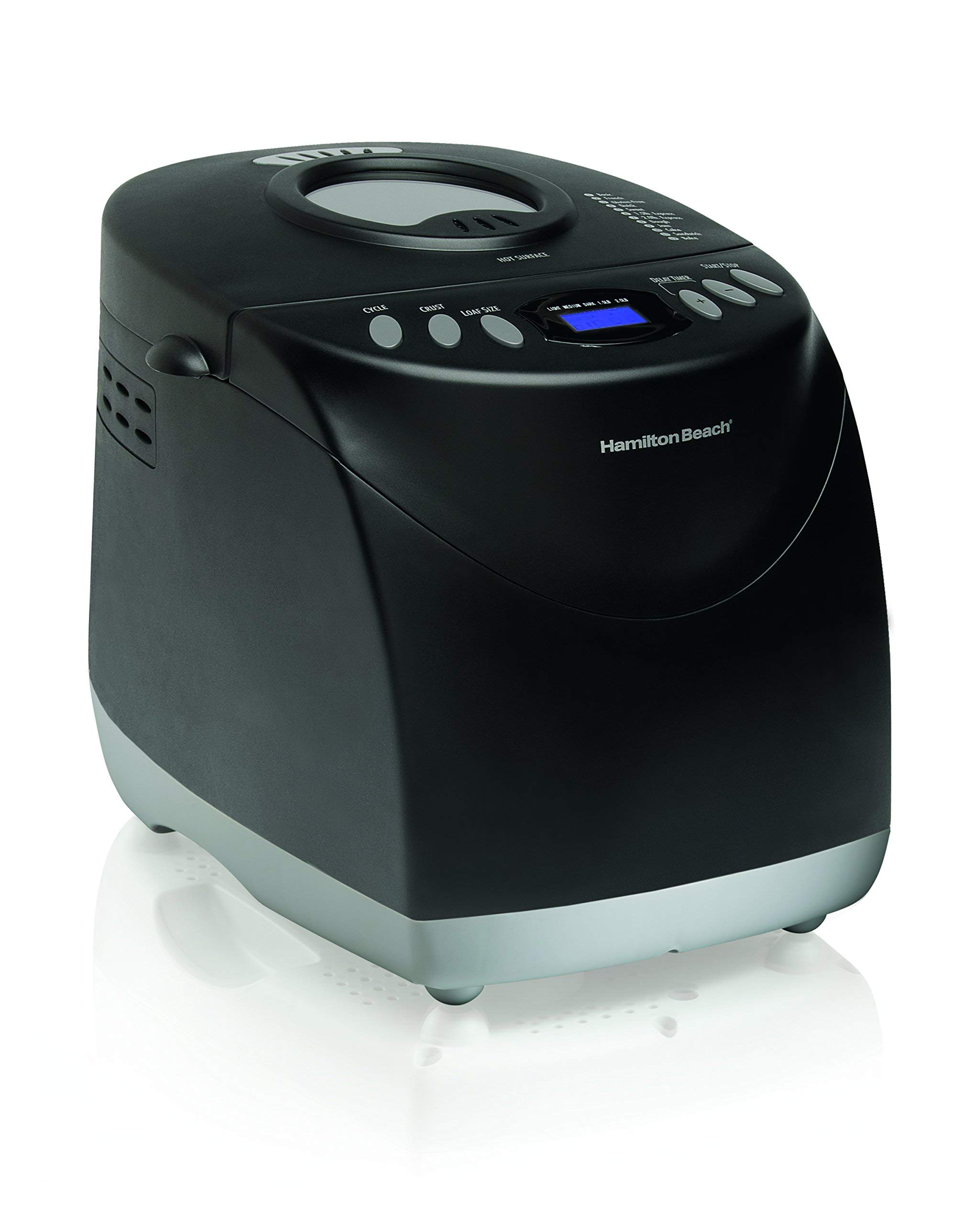 Hamilton Beach (29882C) HomeBaker 2 Lb. Bread Maker Machine with 12 Program Cycles, Non-Stick Dishwasher-Safe Pan and 2 Kneading Paddles, Black (Renewed)