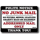 stika.co Polite Notice No Junk Mail Flyers Leaflets Menus, 10x7cm, Door Sticker Sign label decal (White Vinyl, 1)