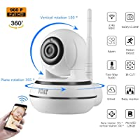 OCDAY Caméra Dôme surveillance - IP Cam HD 960p, Motorisé PTZ Pan / Tilt / Zoom, 2 Voies Audio, Alerte Email, Détecteur de Mouvement, Night Vision, Wifi Smart Application Supporte Android, iOS
