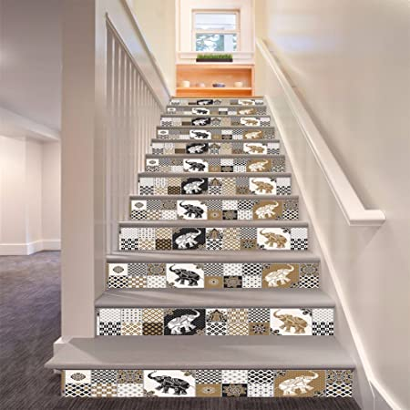 S.Twl.E Vintage estilo marroquí Oficina Hotel autoadhesivo pegatinas de pared impermeable extraíble para la decoración del hogar renovado corredor pegatina Escaleras Escaleras pegatinas , 100x18cm 6 piezas: Amazon.es: Hogar