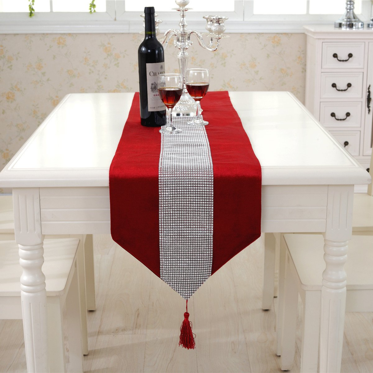 Amazon.com: Western Modern Red Table Runners Tapestry Middle Diamond 80  Inch Approx For Wedding And Party: Home U0026 Kitchen