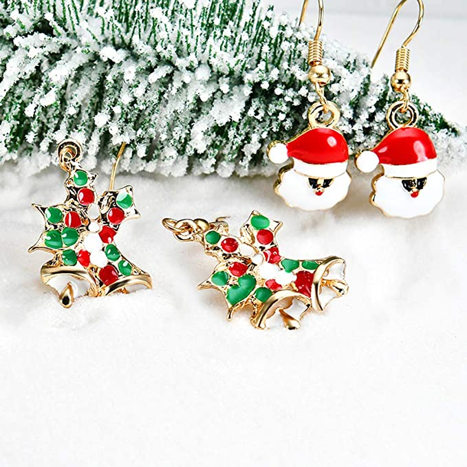 Strass étoile arbre de Noël plaqué or Femme Earring Holiday Celebration