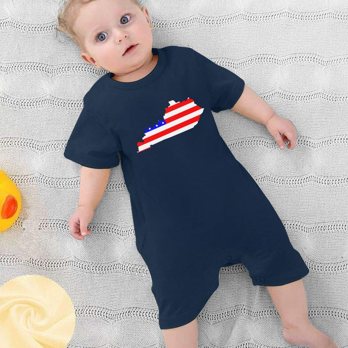 Map of The State of Kentucky and American Flag Newborn Kids Short Sleeve Bodysuit Kid Pajamas 0-24 Months